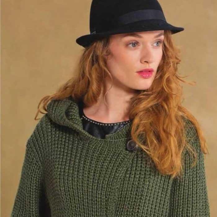 Вязание для женщин Зеленый спицами жакет с капюшоном