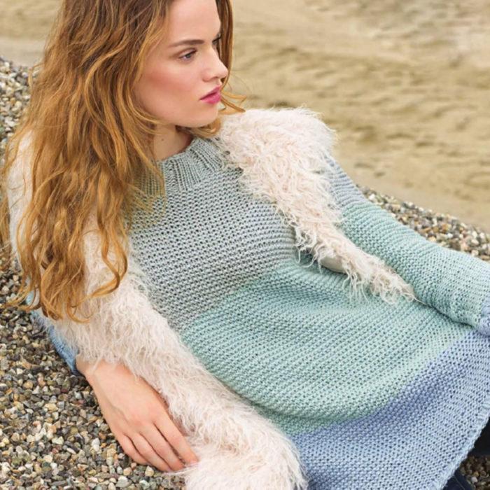 Вязание для женщин Разноцветный пуловер спицами платочной гладью из хлопка