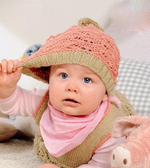 Вязание для малышей платье, шапочка и штанишки спицами