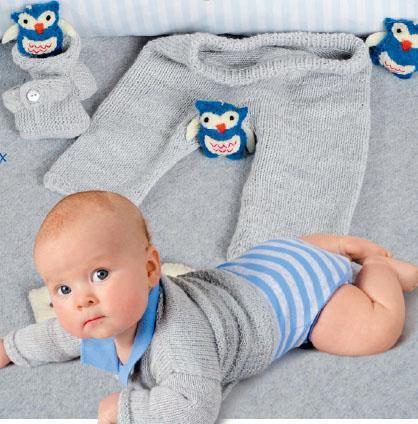 Вязание для малышей ЖАКЕТ И БРЮЧКИ СПИЦАМИ СВЕТЛО СЕРОГО ЦВЕТА