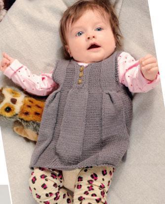 Вязание для малышей ПЛАТЬЕ И ПУЛОВЕР С КОРОТКИМ РУКАВОМ СПИЦАМИ