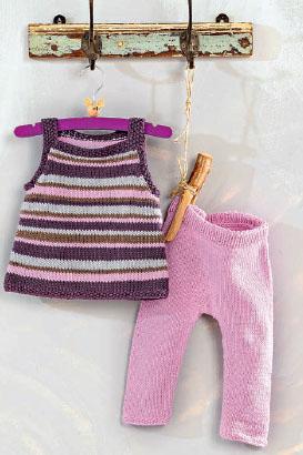 Вязание для малышей ПОЛОСАТАЯ ТУНИКА И РОЗОВЫЕ ШТАНИШКИ СПИЦАМИ