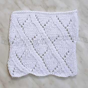 Ажурный узор спицами для пуловера, схема узора+ видео как связать