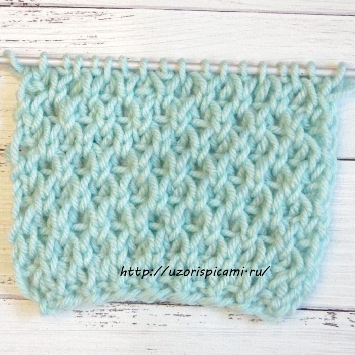 Объемный двухсторонний узор спицами для шарфов, шапок, снудов + видео как связать