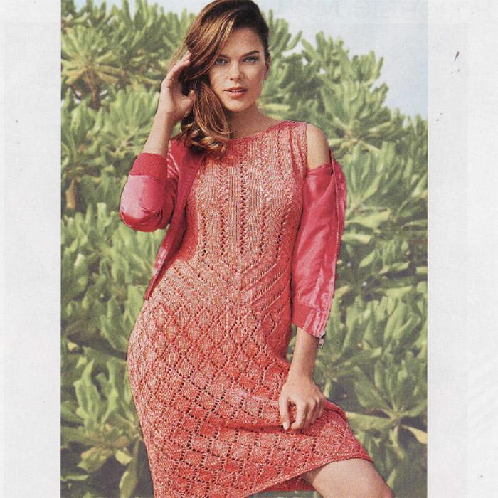 Летнее платье из хлопка спицами кораллового цвета
