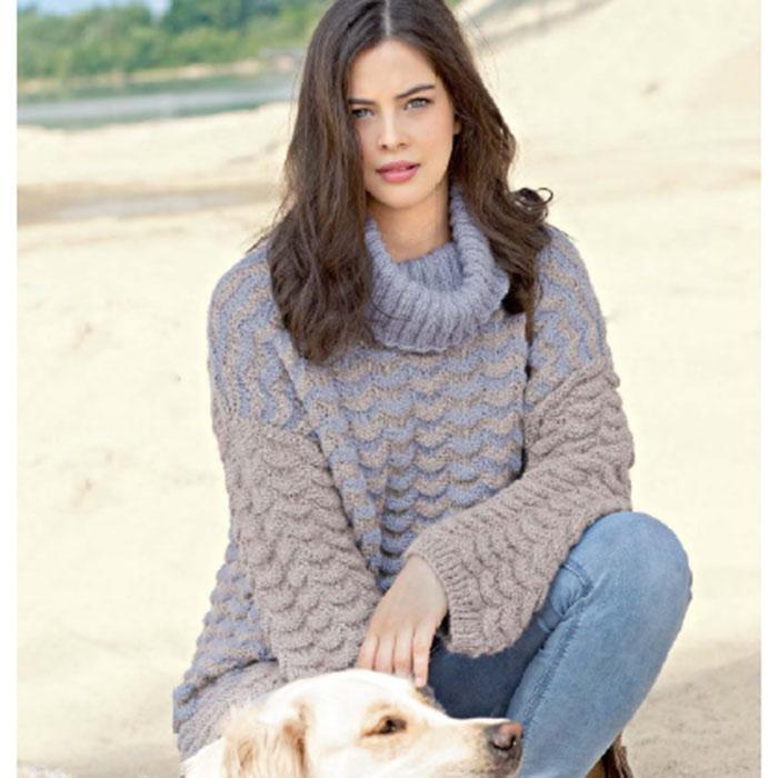Вязание для женщин. Пуловер гольф спицами со структурный узором