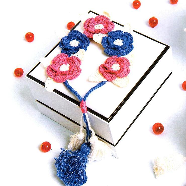 Вязание крючком. Колье с цветами. Ажурное вязание.