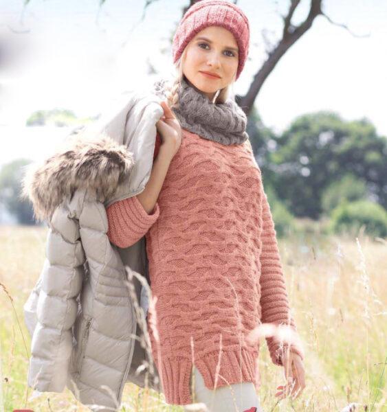 Вязание для женщин. Пуловер, шарф-петля и шапка спицами