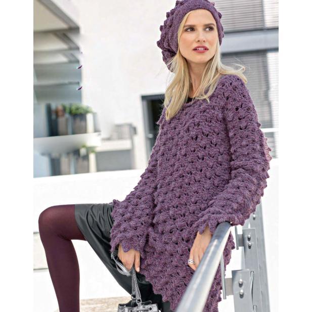 Вязание для женщин. Пуловер и шапка с «шишечками» спицами