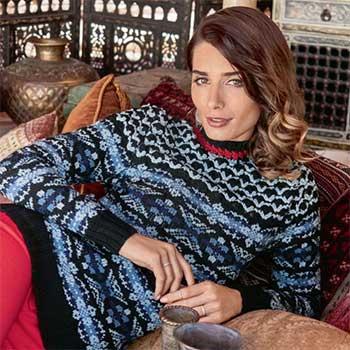 Вязание для женщин. Пуловер спицами жаккардовым узором