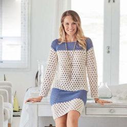 Вязание для женщин. Пуловер и юбка для лета крючком
