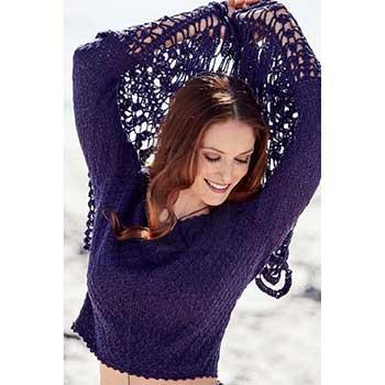 Вязание для женщин. Пуловер спицами с длинными воланами