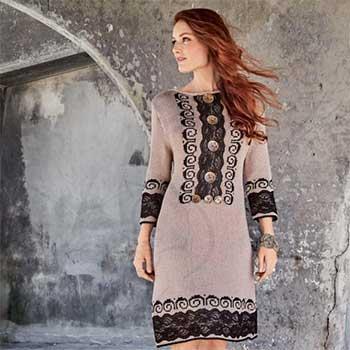 Вязание для женщин. Платье спицами с жаккардовым узором и кружевом