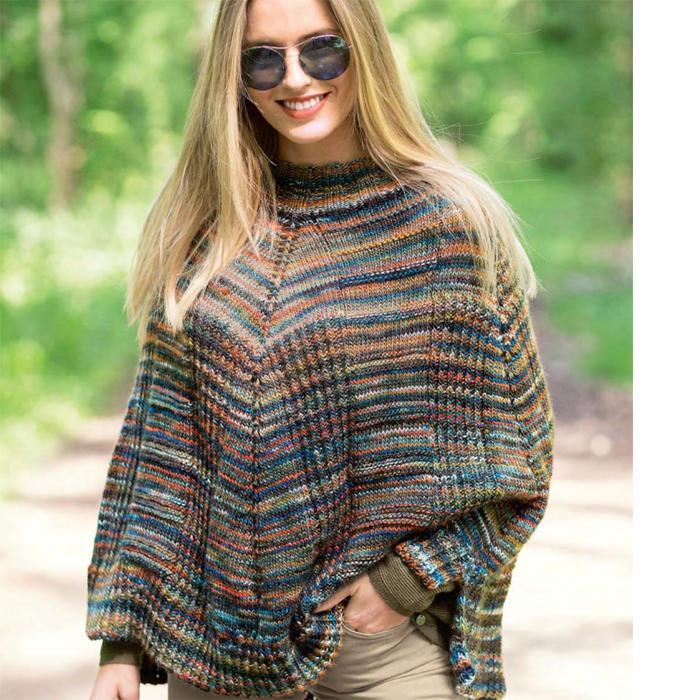 Вязание для женщин. Пестрое пончо из меланжевой пряжи