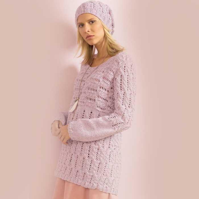 Вязание для женщин. Пуловер спицами со связанным поперек верхом и шапка