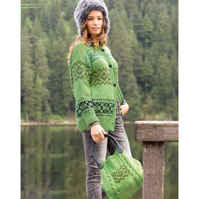 Вязание для женщин. Жакет и сумка спицами с жаккардовым узором