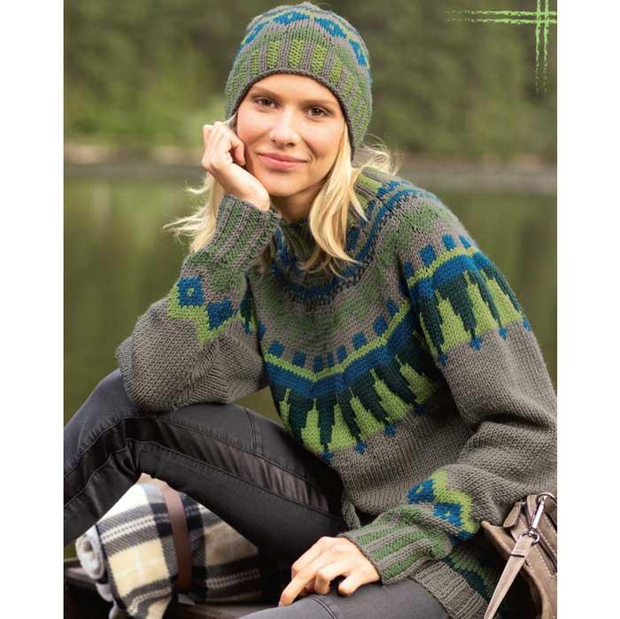 Вязание для женщин. Пуловер спицами и шапка с жаккардовым узором