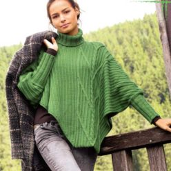 Вязание для женщин. Асимметричный пуловер-пончо спицами