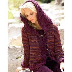 Вязание для женщин. Жакет спицами с капюшоном и меховыми планками