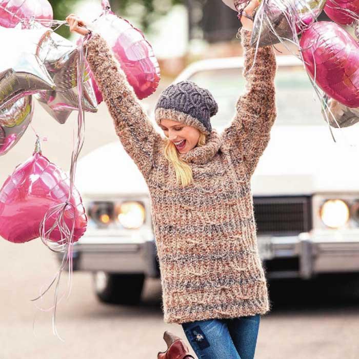 Вязание для женщин. Меланжевый пуловер спицами