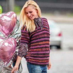 Вязание для женщин. Пуловер спицами с короткими рукавами
