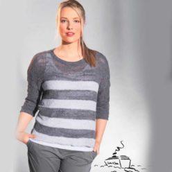 Вязание для женщин. Пуловер спицами в крупную полоску в серых тонах