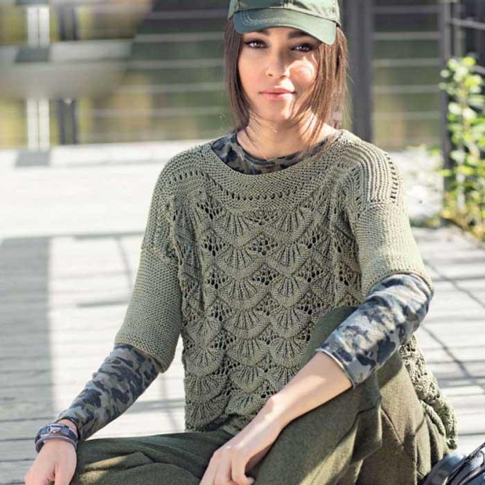 Вязание для женщин. Оливковый пуловер с волнистым узором