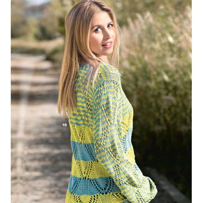 Вязание для женщин. Ажурный пуловер в полоску