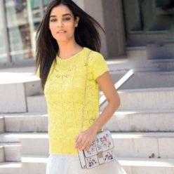 Вязание для женщин. Желтый пуловер с короткими рукавами