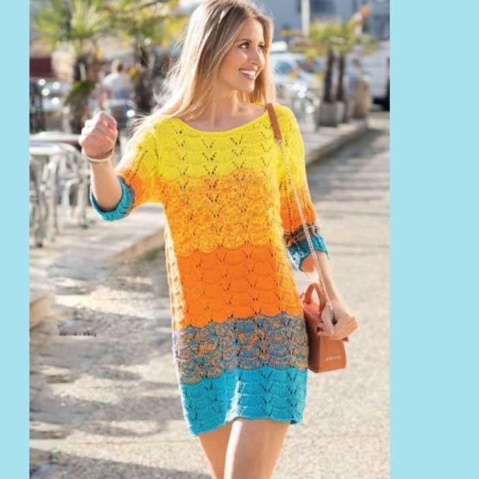 Вязание для женщин. Разноцветное платье