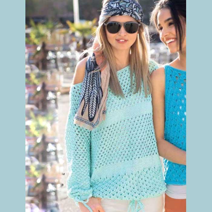 Вязание для женщин. Пуловер спицами с сочетанием ажурных узоров