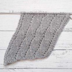 Красивый диагональный узор спицами для шарфа, снуда, схема