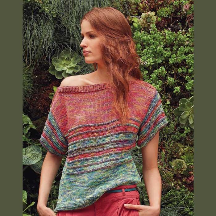 Вязание для женщин. Полосатый пуловер спицами