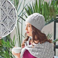 Вязание для женщин. Шапка-бини спицами и бактус спицами