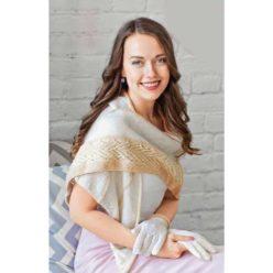 Вязание для женщин. Шаль с узорной каймой и перчатки спицами