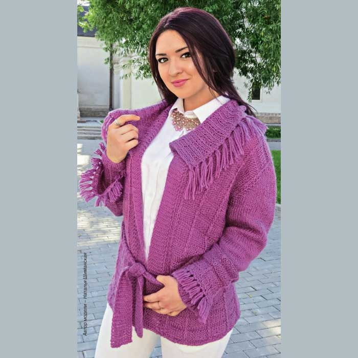 Вязание для женщин. Жакет с бахромой спицами