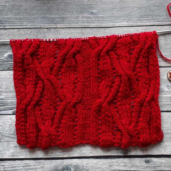 Узор спицами для пуловера, шарфа, палантина, схема узора