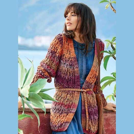 Вязание для женщин. Разноцветный кардиган спицами с узором «Листья»