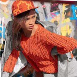 Вязания для женщин. Оранжевый пуловер спицами с миксом узоров
