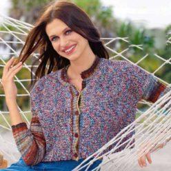Вязание для женщин. УКОРОЧЕННЫЙ ЖАКЕТ СПИЦАМИ ИЗ ДВУХ ВИДОВ ПРЯЖИ