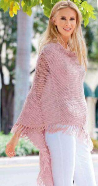 Вязание для женщин. ПОНЧО СПИЦАМИ С КИСТЯМИ