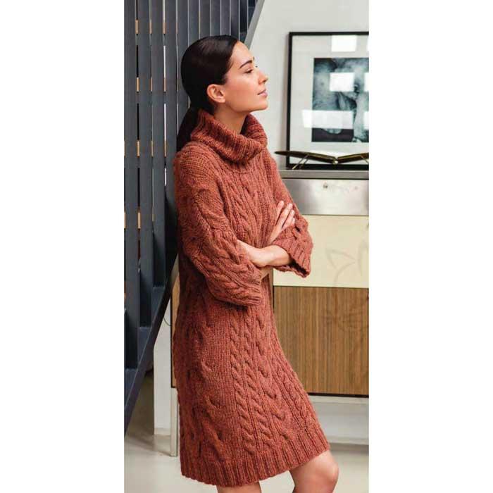 Вязание для женщин. Платье с косами спицами