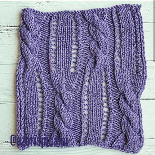 Красивый ажурный узор с косами спицами для пуловера, жакета, схема узора