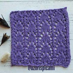 Красивый ажурный узор спицами для пуловера, палантина, схема узора