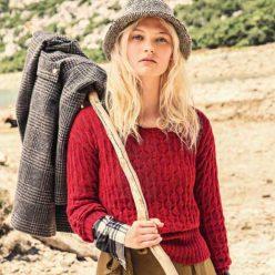 Вязание для женщин. Пуловер из альпаки рельефным узором