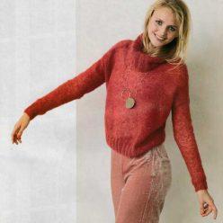 Вязание для женщин. Пуловер спицами с объемным драпирующимся воротником