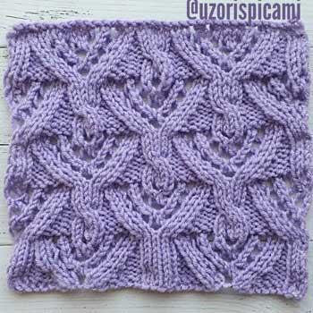 Красивый ажурный узор с косами для пуловера, схема узора