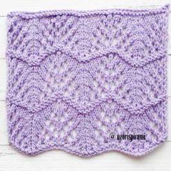 Красивый волнистый ажурный узор спицами для летнего топа, пуловера, схема узора