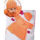 Вязание для малышей. Ажурное платье и шапочка для девочки