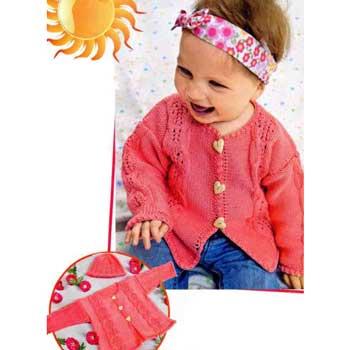 Вязание для малышей. Жакет спицами с ажурными косами